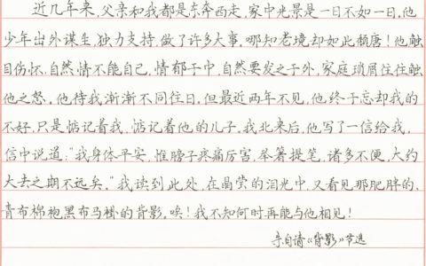 朱自清《背影》散文选段手写钢笔字笔友钢笔书法习作欣赏