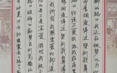 张震岳《路口》歌词手写钢笔字笔友钢笔书法习作欣赏