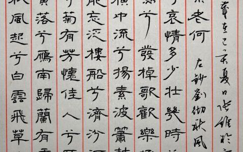 刘彻《秋风辞》每周一篇钢笔字练习笔友钢笔书法习作欣赏