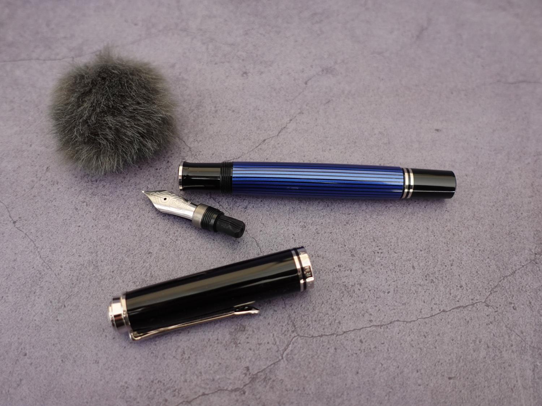 百利金M805蓝条18K活塞钢笔-14
