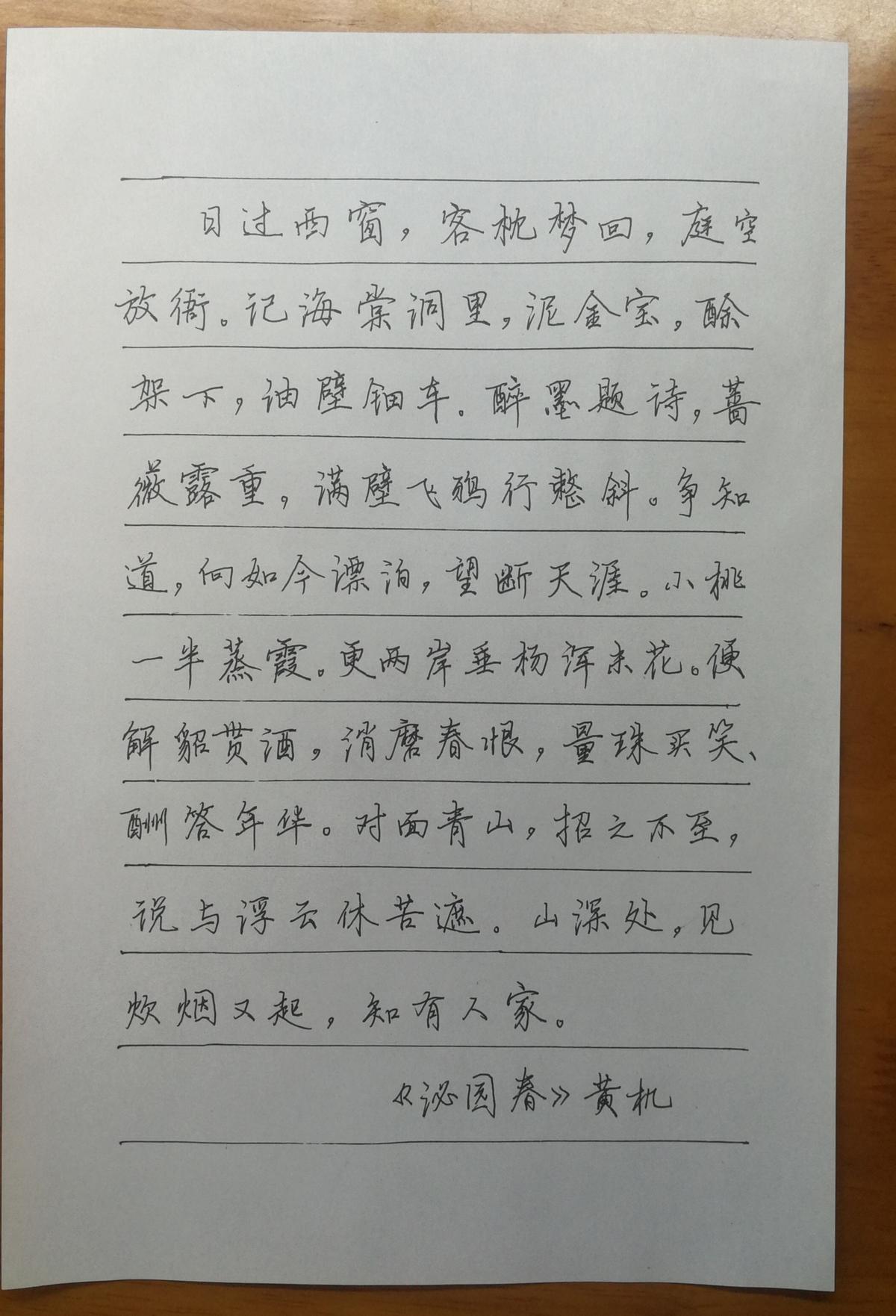 蔡师点评:黄机《沁园春》钢笔字练字打卡作业欣赏17